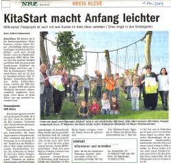 Presseartikel als jpg aus der NRZ vom 01.05.09 über KitaStart in Kleve und Weeze